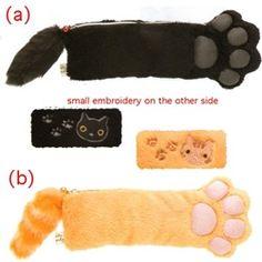 "San-X Kutusita Nyanko 8"" Paw Pen & Makeup Pouch. cat. kitty. orange tabby.  pencil case. cute. school supply. office. $22.95"