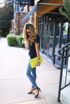 Ivory Lane neon clutch by JCrew Factory; leopard pumps by Valentino