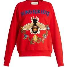 Gucci Bee and floral-appliqué cotton sweatshirt ($1,500) ❤ liked on Polyvore featuring tops, hoodies, sweatshirts, floral print sweatshirt, sequined sweatshirt, cotton sweatshirts, slogan sweatshirts and sequin top