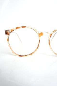 6673c0d1c94 1980s Oversized Round Eyeglasses – Womens Clear Round Glasses – Vintage  Fake Glasses – Womens Fake Eyeglasses – Light Amber Tortoiseshell