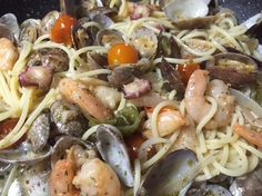 Homemade seafood pasta
