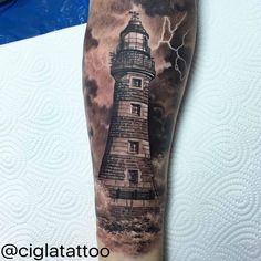 Thunder Lighthouse Realistic Tattoo