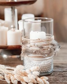 Diy Crafts For Home Decor, Diy Crafts Hacks, Diy Crafts For Gifts, Jar Crafts, Bottle Crafts, Diy Room Decor, Diy Candle Holders, Diy Candles, Diy Candle Glass
