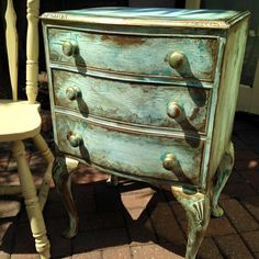Good use of dark wax to age furniture.  Vintro Chalk Paint and waxes can be used to achieve this look.