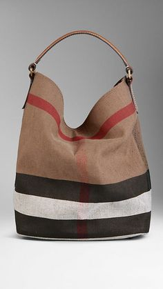 Medium Canvas Check Hobo Bag | Burberry with Saddle Brown leather