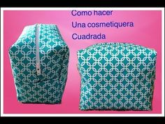 cosmetiquera cuadrada - YouTube Diy Arts And Crafts, Diy Crafts, Sewing Projects, Quilts, Stitch, Knitting, Youtube, Crochet, Ideas Originales