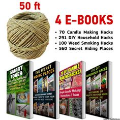 """CozYours BEESWAX HEMP WICK, 50FT ROLL, 100% ORGANIC WICK WITH NATURAL BEESWAX; Thick Gauge 0.08""""(2.0mm); For Candle Makers or Weed Tokers!; 4 E-BOOKS INCLUDED:  GET YOUR EXCLUSIVE GIFT - 4 E-BOOKS WITH YOUR PURCHASE - 70 CANDLE MAKING HACKS & 291 DIY HOUSEHOLD HACKS! 100 WEED SMOKING HACKS & 560 SECRET HIDING PLACES TO STASH YOUR STUFF!; Product is designed in Canada. ENJOY!!  http://amzn.to/2oXbJDg"""