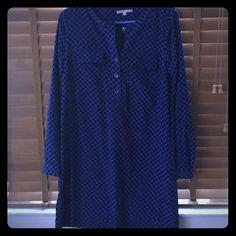 Gap shift dress Blue with black polka dot button down shift dress GAP Dresses Long Sleeve