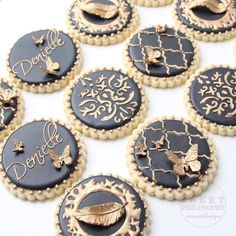 Chic gold and black sugar cookies for a 30th birthday party by Sweet Philosophy Bakery