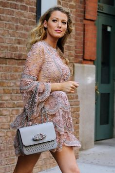 blake lively seen on the streets of New York .... wearing Ellie Saab or Zuhair Murad dress?
