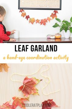 This Leaf Garland is simple, yet adds a perfect touch of Autumn to a home and best of all, it's something that is made by your own little humans. Fall Crafts For Kids, Summer Crafts, Toddler Crafts, Kids Crafts, Outdoor Activities For Kids, Toddler Learning Activities, Leaf Crafts, Leaf Garland, Crafty Kids
