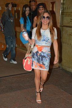 We are totally obsessed with Ally Brooke Hernandez of Fifth Harmony's colorful crop top and matching skirt.
