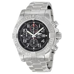 Breitling Super Avenger II Black Dial Chronograph Stainless Steel Automatic Mens Watch A1337111-BC28SS