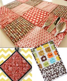 Quilted Kitchen Accessories - mug rug, pocket placemat and quilted potholder sewing pattern by Maggie Elizabeth Designs | The best sewing patterns for women, girls, toys and more. Go To Patterns & Co.