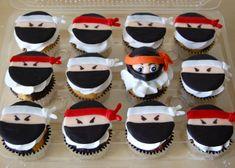 Ninja Cupcake Toppers Edible by TheCakeHusband on Etsy Ninja Cupcakes, Ninja Cake, Kid Cupcakes, Wedding Cakes With Cupcakes, Fondant Cupcakes, Cupcake Cakes, 7 Cake, Baby Cupcake, Lego Cake