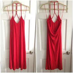 💃🏿NWT, Beautiful Red Silk Occasion Dress BNWT slinky, luxurious bright red beauty...material also has stretch to it, label says 100% silk.  It is fully lined to hide any flaws!  The back details are my favorite - a braid of fabric down from back of neck connecting to front by thin delicate straps, otherwise back is open down to lower/waist where it cowls/drapes.  I love this dress but as shown in pics it is just a bit too big for me so I have never worn it. Would be so pretty for date…