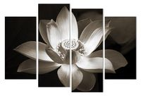 4panel Modern wall art home decoration printed flower oil painting canvas prints frameless black and white simple lotus flower