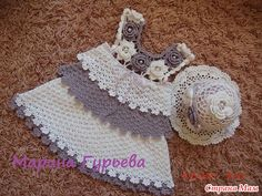 Beautiful White and Grayt Baby Dress free crochet graph pattern