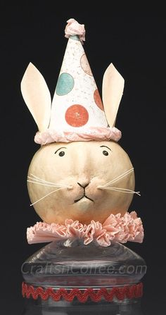 How to make a folk art, paper clay Easter bunny