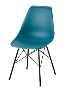 Polypropylene and metal chair in blue Cardiff