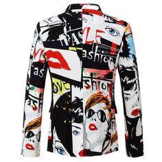 5b76df213d7b PYJTRL Brand 2018 New Tide Mens Fashion Print Blazer Design Plus Size Hip Hot  Casual Male Slim Fit Suit Jacket Singer Costume