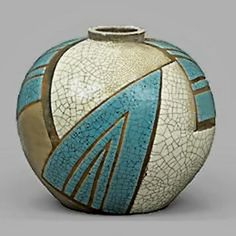 Art Deco globular vessel in a geometric blue and white crackelure glaze, circa 1930 signed J.Doris (René BUTHAUD) (hva)