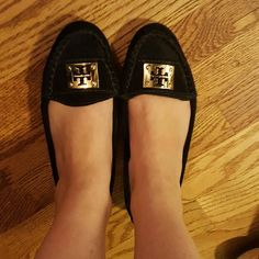 Tory Burch Black Suede Loafers Gold buckle and bolts  Very comfy!  Well worn in. Faded all over and damage to at heels. Damage is reflected in price. Tory Burch Shoes Flats & Loafers