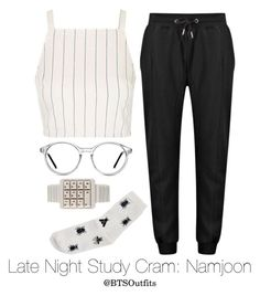 """Late Night Exam Cram: Namjoon"" by btsoutfits ❤ liked on Polyvore featuring GlassesUSA, Monki and Topshop"