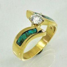 14k Gold Bypass Ring with Turquoise Inlay and Diamond Center Stone