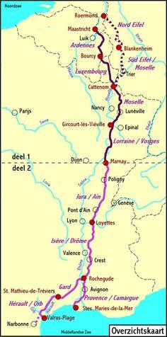 Europafietsen in Frankrijk.  Routes. De groene weg.