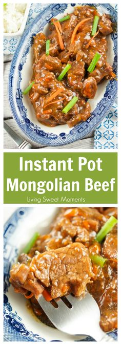 Gotta love instant pot Asian recipes! This instant pot Mongolian beef is made with flank steak & is ready in 20 minutes. Perfect for a quick weeknight meal. More instant pot recipes at livingsweetmoments.com  via @Livingsmoments