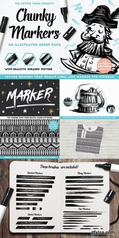 Chunky Markers - Illustrator Brushes - Now you can create convincing marker pen artwork in Adobe Illustrator or Affinity Designer with ease. Why not expand your digital tool kit and give marker art a go? You could even try doing a bit of digital hand-lettering! By The Artifex Forge $15 #affiliatelink