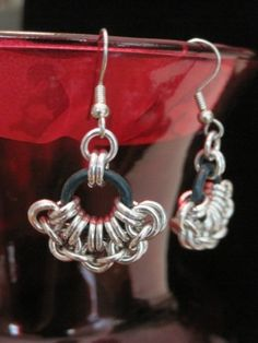 Japanese 2 in 2 Fan Chainmaille Earrings in Bright Aluminum & Black