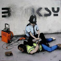 Ok not Banksy but it's cool street art. 3d Street Art, Street Art Banksy, Best Street Art, Street Artists, Banksy Graffiti, Bansky, Graffiti Lettering, Graffiti Artists, Pop Art