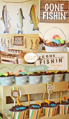 INSTANT DOWNLOAD Fishing Gone Fishin' Printable Birthday Party Kit & Invitation- DIY/Customize in Adobe Reader on Etsy, $19.00
