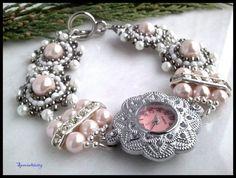 Silver Tone Watch Handmade Pink Glass Pearl Crystal Rhinestone Band | specialtivity - Jewelry on ArtFire