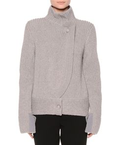 Extended-Sleeve Turtleneck Sweater, Gray