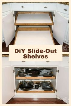 DiY Slide-Out Shelves – A husband and wife want more kitchen cabinet space, but instead of simply decluttering they do THIS! DiY Slide-Out Shelves – A husband and wife want more kitchen cabinet space, but instead of simply decluttering they do THIS! Kitchen Decorating, Diy Kitchen Storage, Diy Kitchen Cabinets, Kitchen Redo, New Kitchen, Cheap Kitchen, Kitchen Organization, Kitchen Shelves, Kitchen Pantry