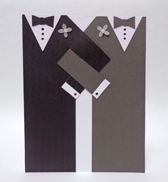 Handmade Paper Same Sex Grooms Wedding Card via Etsy