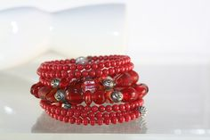OOAK Red Lampwork with Cherry Quartz and Czech Glass Wrap Bracelet Hand Crafted Jewelry SOLD