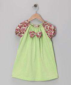 Look at this #zulilyfind! Lime & Pink Floral Bow Tie Dress - Toddler & Girls by Lele Vintage #zulilyfinds