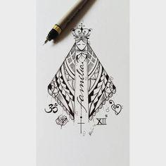 """458 Likes, 19 Comments - Kefo_Nascimento (@ateliekefonascimento) on Instagram: """"Desenho da nossa Senhora desenvolvido para cliente Lívia.  Foi usado uma ornamentação maori e…"""" #maoritattoos"""