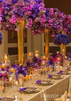 Pink Purple and Gold Wedding Reception. we'll never be this royal! Quinceanera Centerpieces, Table Centerpieces, Wedding Centerpieces, Purple Centerpiece, Quinceanera Party, Reception Decorations, Event Decor, Rustic Wedding Decorations, Wedding Events