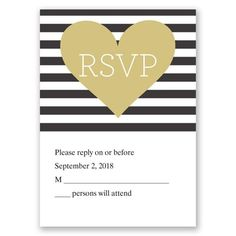 Heart & Soul - Wedding Invitation - Stripes, Hearts, Nautical, Modern at Invitations By David's Bridal