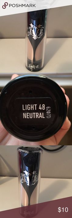 Kat Von D Lock it foundation light natural 48 Kat Von D Lock it foundation light natural 48. Only used about a handful of times, no longer my color. Kat Von D Makeup Foundation