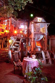 This looks like a theatre set, but it is actually a traveling restaurant!