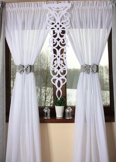 Firany Gotowe Zasłony Ekrany Firanki in 2019 Luxury Curtains, Elegant Curtains, Home Curtains, Curtains Living, Curtains With Blinds, Valance, Curtains Childrens Room, Rideaux Design, Living Room Decor