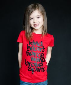 Red 'Kind Heart' Fitted Tee - Girls