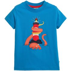 Boys mid-blue short-sleeved t-shirt by Frugi. Made from a soft organic cotton jersey with a lighthouse and octopus appliqué featuring embroidered details on the front. It has a stretchy ribbed neck, for easy dressing.