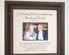 .www.PhotoFrameOriginals.com Thank You Gift For Parents, Wedding Gifts For Parents, Wedding Gifts For Groom, Bride Gifts, Burlap Wedding Decorations, Anniversary Party Decorations, Golden Anniversary Gifts, Anniversary Gifts For Parents, Groom Wedding Pictures